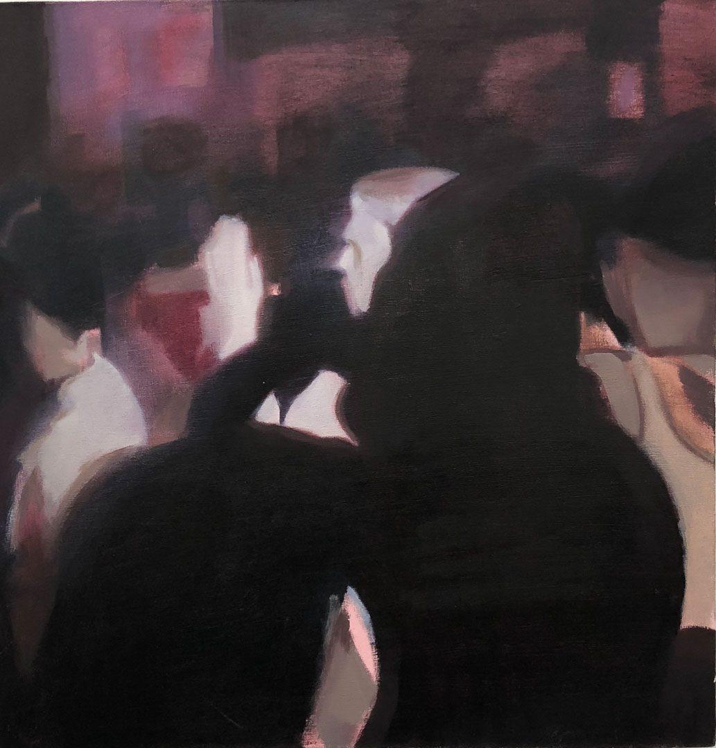 Dancefloor, huile sur toile, 61×62,5 cm, 2018, © GALERIE CHLOE SALGADO et Julian Simon.