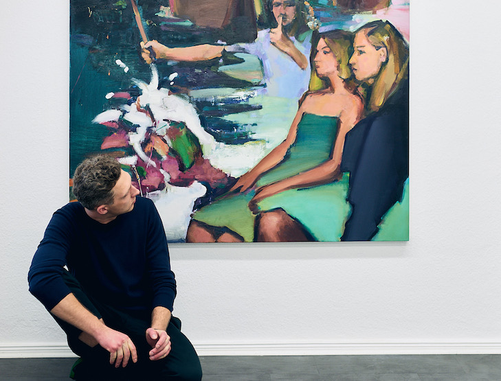 Andrius Zakarauskas in front of Prophet, 2017, Oil on canvas, 160 x 145 cm at Magic Beans Gallery, photo credit- Martin Peterdamm