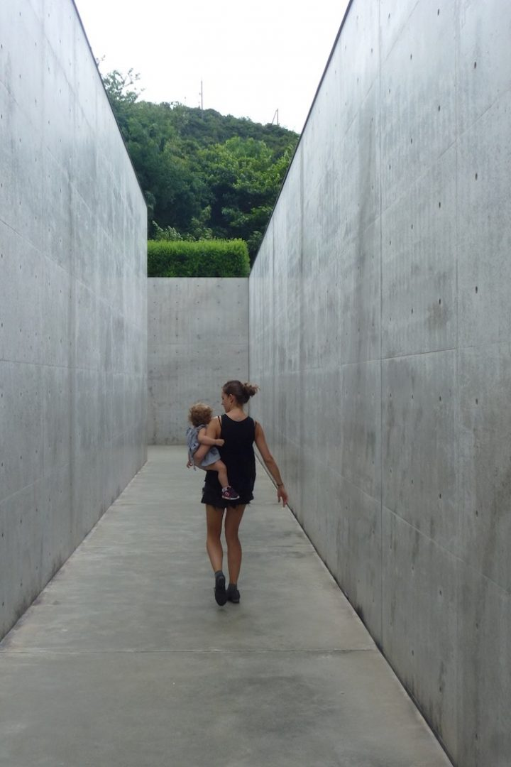 Inga Nelli and her daughter, Lee Ufan Museum, 2015