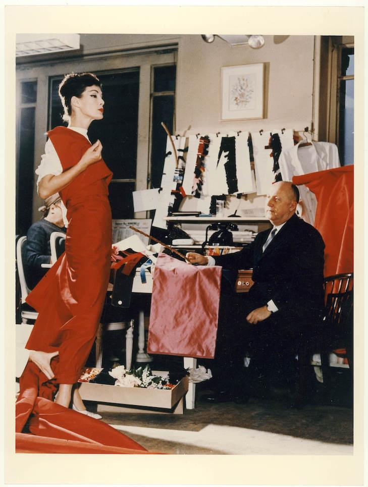Christian Dior with model Lucky, circa 1955 Courtesy of Christian Dior
