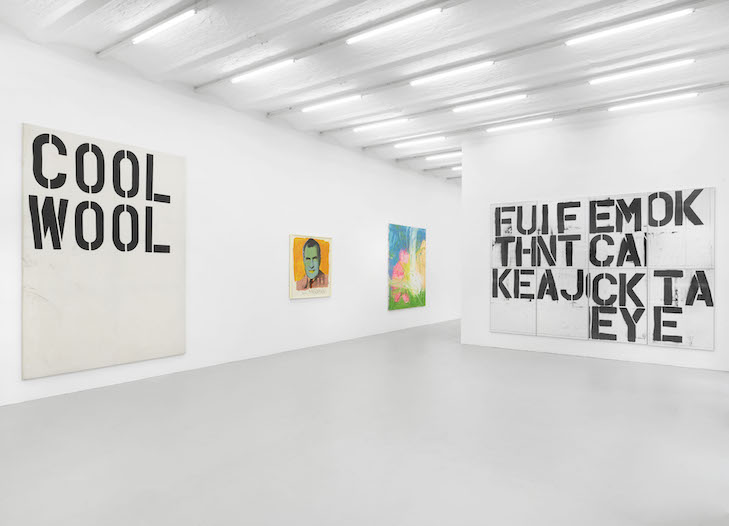 "installation view majerus wool warhol…""cold beer"" the ""smudge tool"" and other short stories Michel Majerus Estate, Berlin, 2019 © Michel Majerus Estate, 2019, courtesy neugerriemschneider, Berlin © Christopher Wool © 2019 The Andy Warhol Foundation for the Visual Arts, Inc. / Licensed by Artists Rights Society (ARS), New York Photo: Jens Ziehe, Berlin"