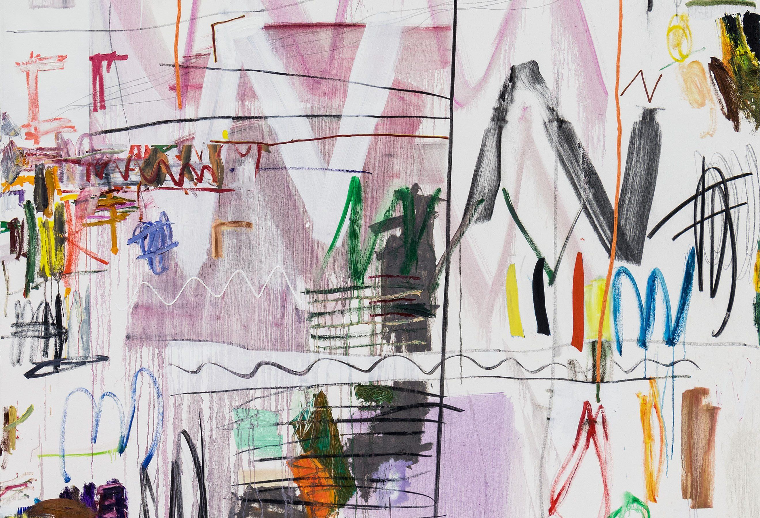 Andreas Breunig (*1983 in Eberbach/Odenwald) ´Hi-Tech Minimal No. 3` 2019 oil, charcoal, graphite on canvas 240 x 210 cm © Photo Johannes Bendzulla Courtesy Art Advisory Alexander Warhus, Cologne & Nino Mier Gallery, Los Angeles, 2019
