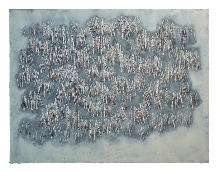 Stéphane Erouane Dumas Variations Verticales 2019, Oil on paper, 120 x 155 cm