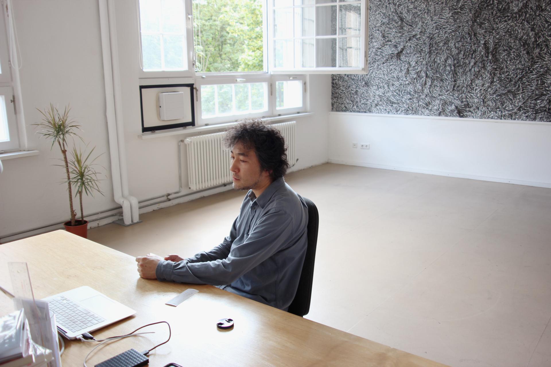 Portrait Hajime Mizutani, 2019 Location: Artist's Studio of KÜNSTLERHAUS BETHANIEN, Berlin, Germany