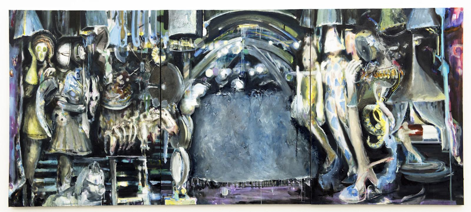 "Valérie Favre ""L'ordre de la nuit"", 2016-17 170 x 390 cm Oil on canvas Courtesy Galerie Barbara Thumm © Valérie Favre & VG Bild-Kunst"