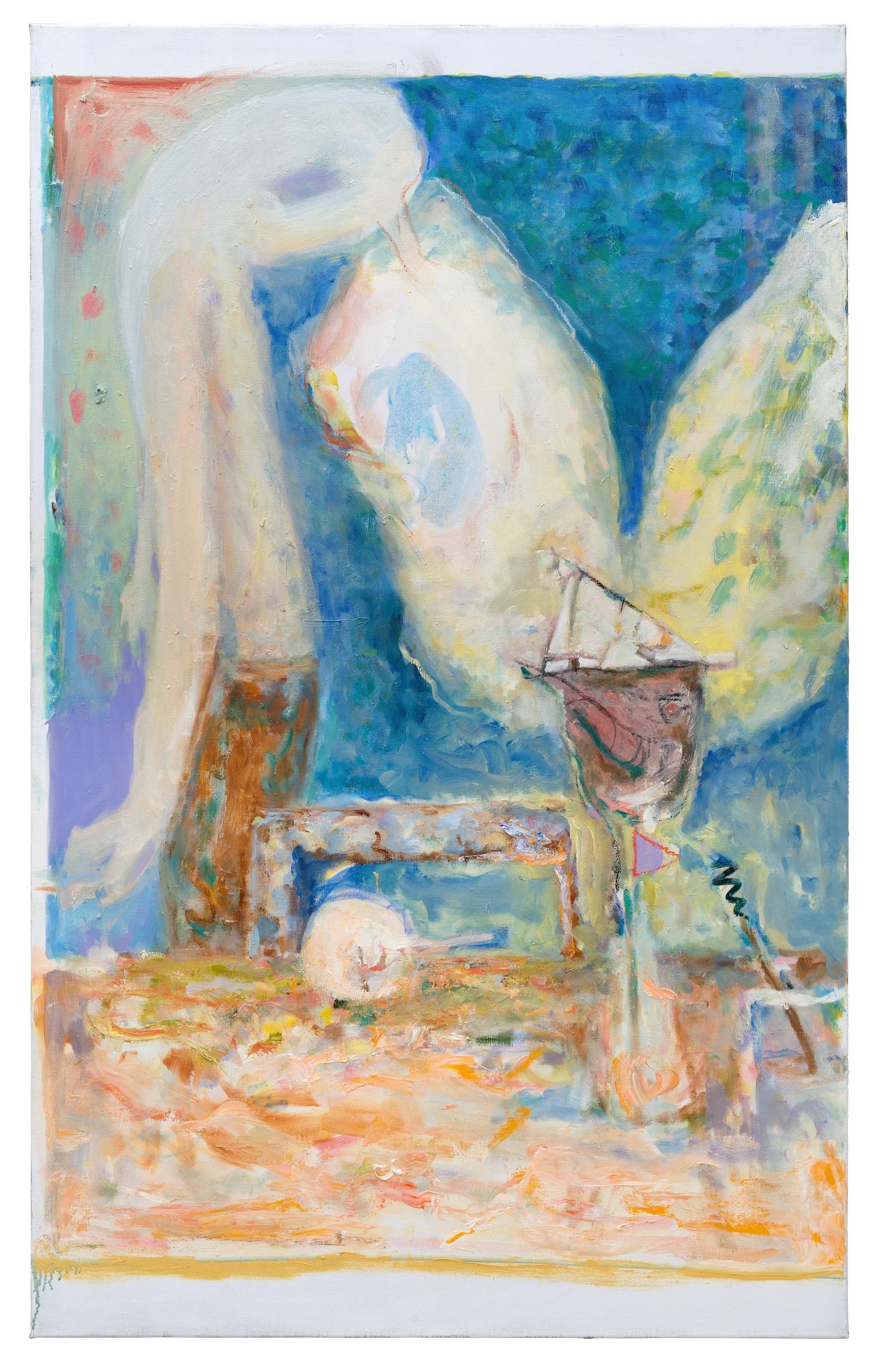 """Am Tisch x 2, jeweils: """"Am Tisch"""", 2018 150 x 90cm Oil on canvas © Valérie Favre & VG Bild-Kunst"""