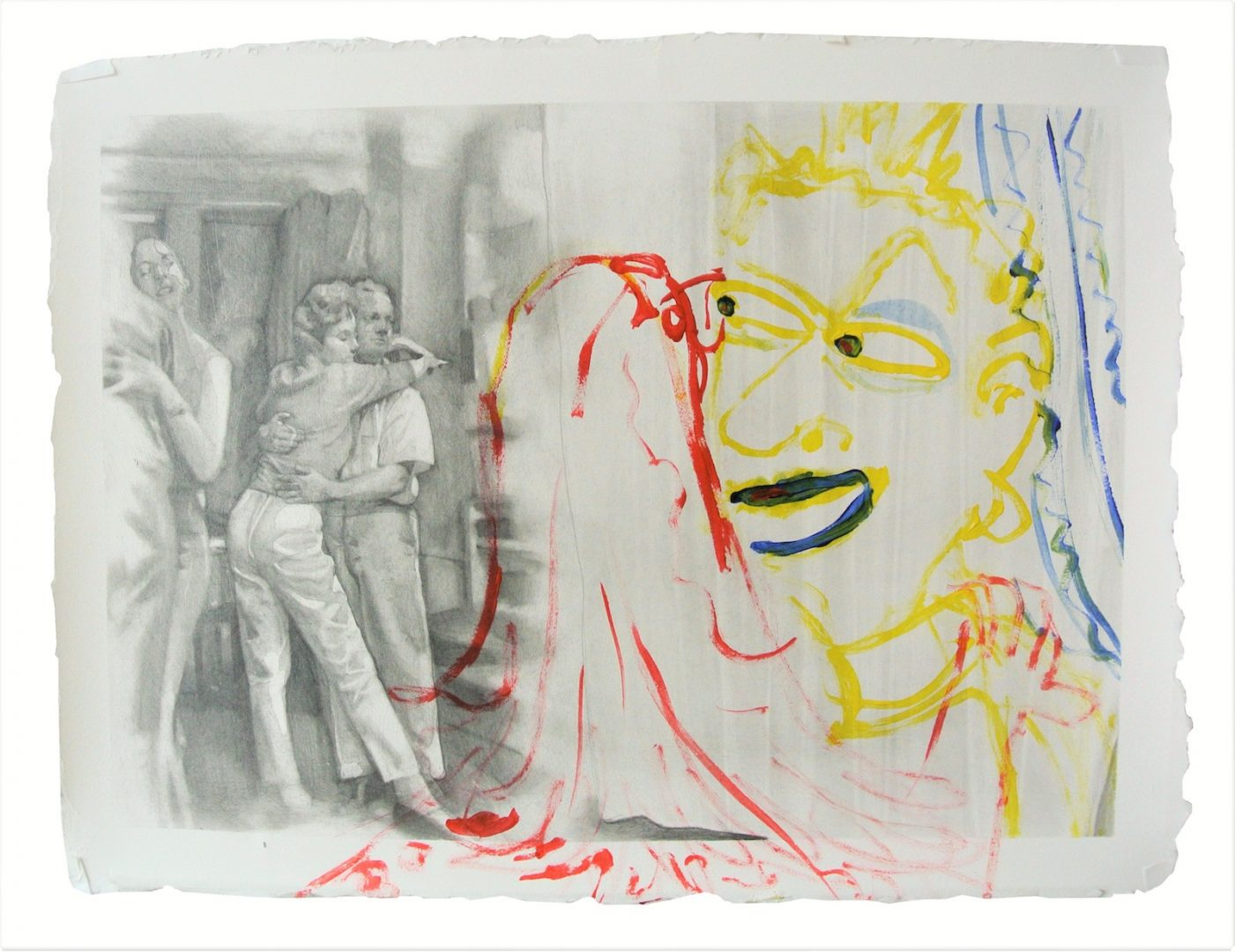 aris Giachoustidis, Love in the first sight 2019, 32x42cm, pencil and acryl on paper