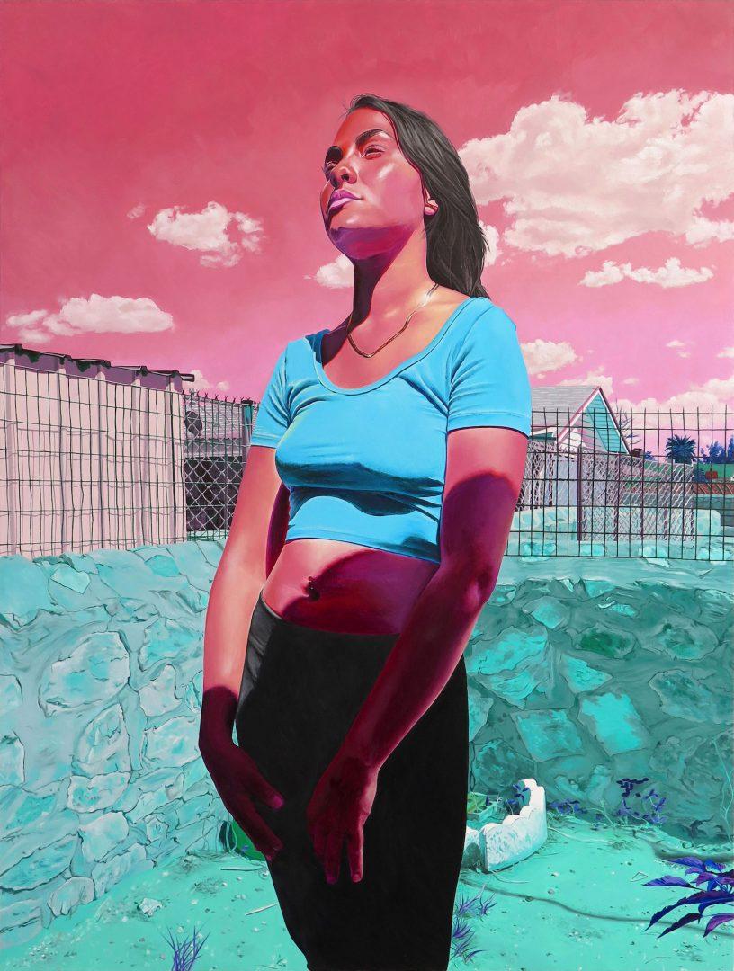 Marianna Olague, Devil's Triangle, 2019, Oil on wood panel, 40 x 30 in