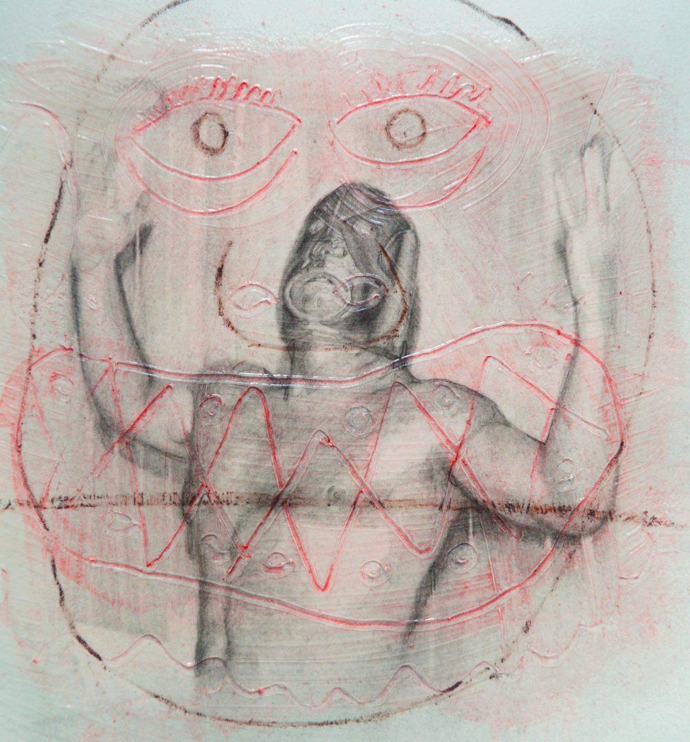Paris Giachoustidis, GOGOGO, 2018, 30x30cm, Acryl Zeichnung auf Papier