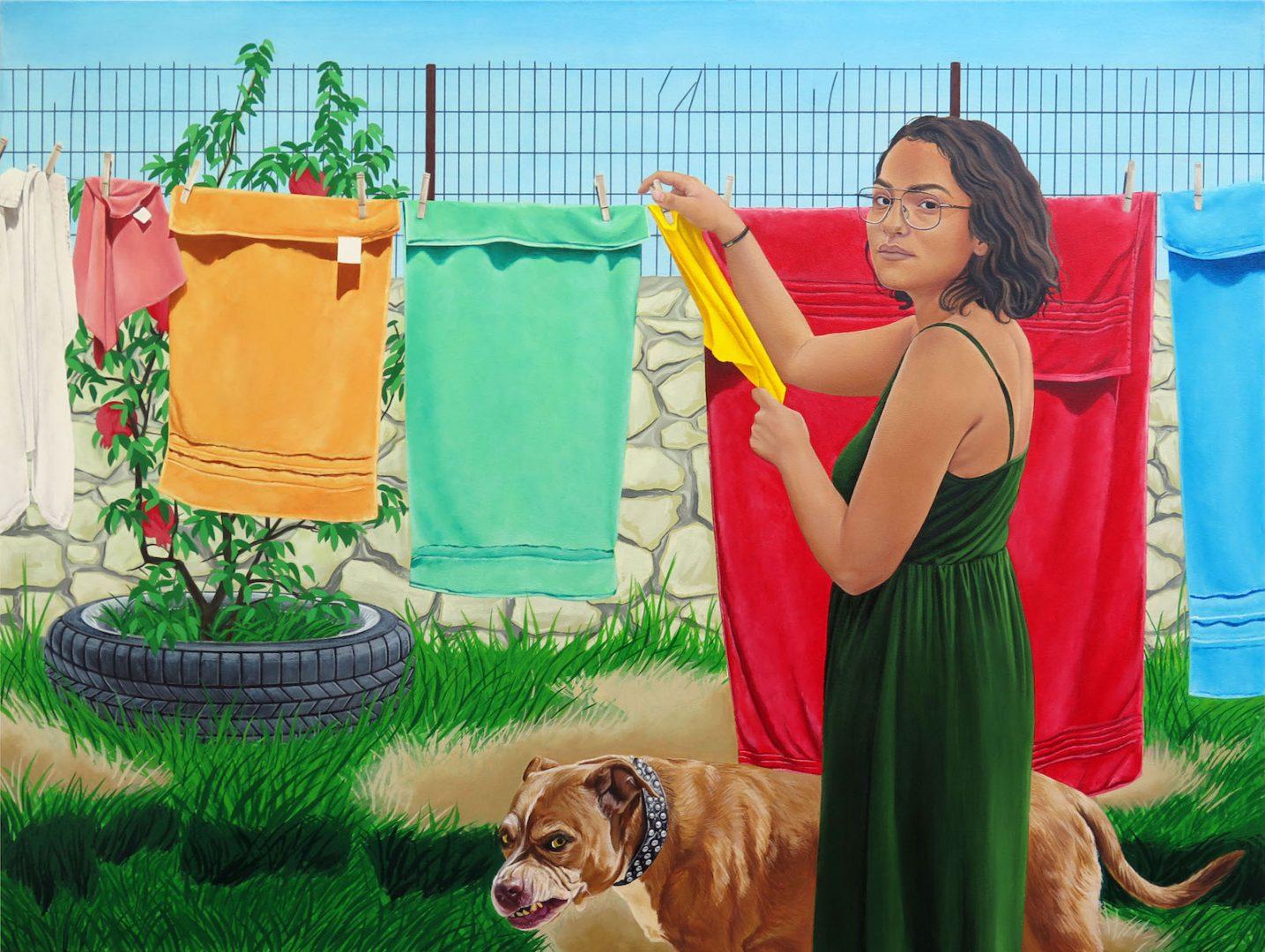 Marianna Olague, Perro Bravo, 2018, Acrylic and oil on canvas, 36 x 48 in