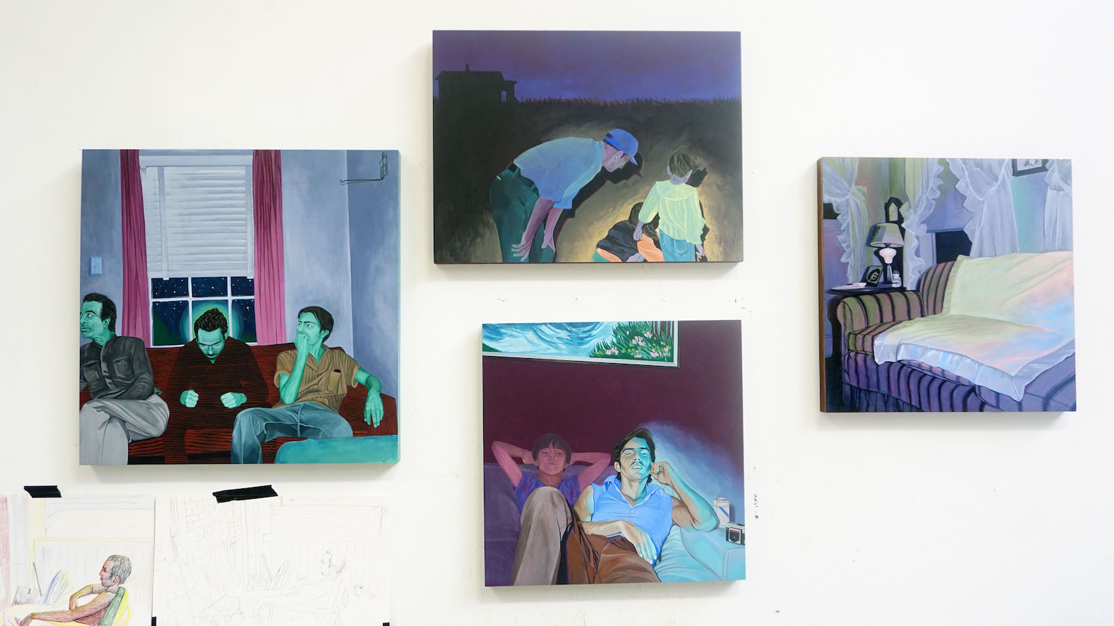 Marianna Olague, Small paintings inspired by old photographs, 2018 Location: My studio at Cranbrook Academy of Art in Bloomfield Hills, Michigan. Photo Credit: Conrad Egyir