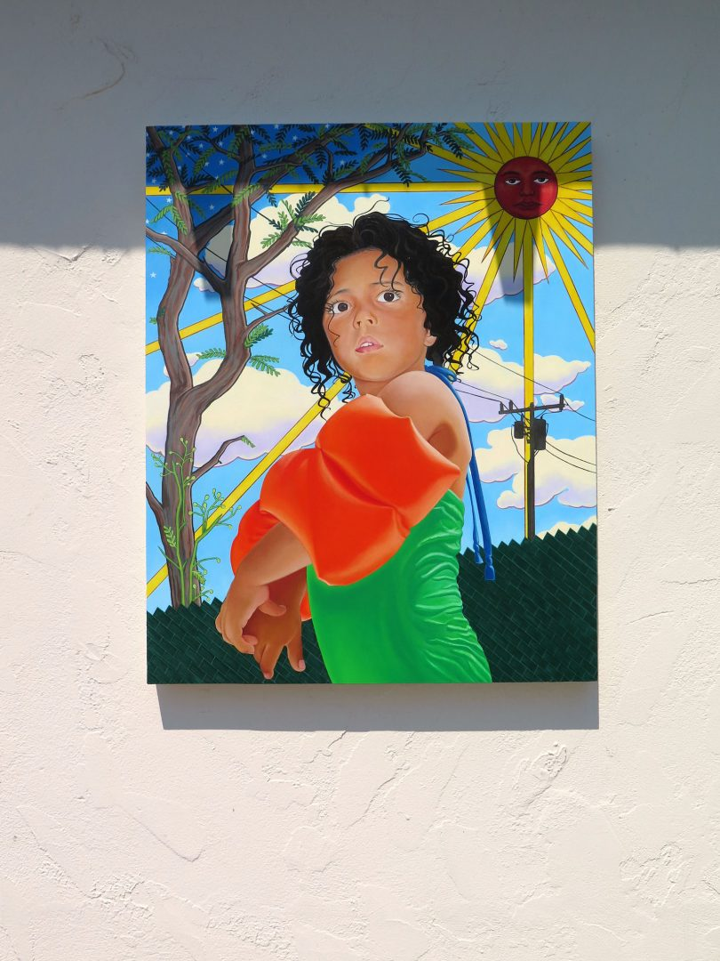 Marianna Olague, Hija del sol, 2018, Acrylic and oil on wood panel, 30 x 24 in