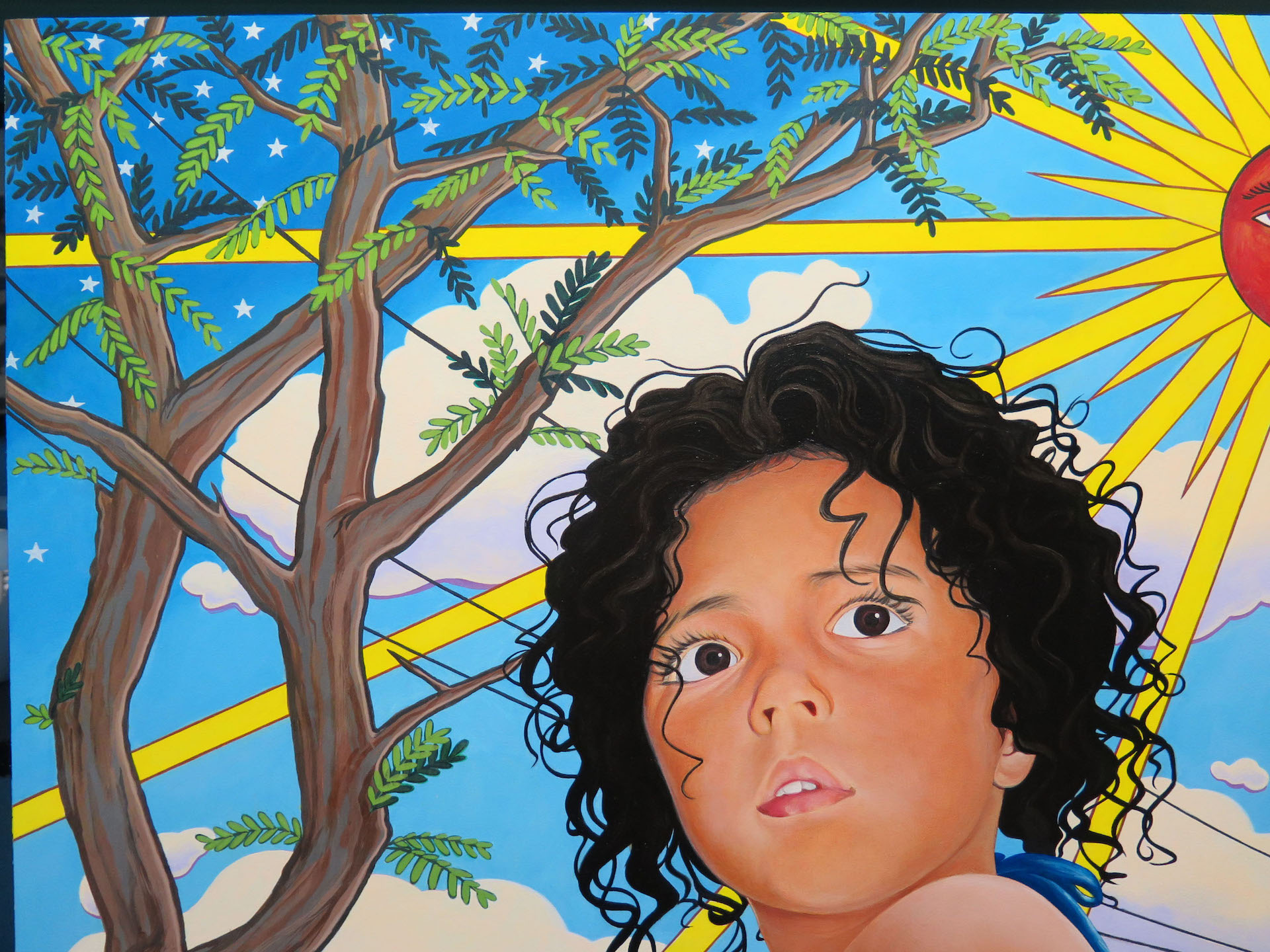 Marianna Olague, Close-up of of Hija del sol, 2018, Acrylic and oil on wood panel, 30 x 24 in