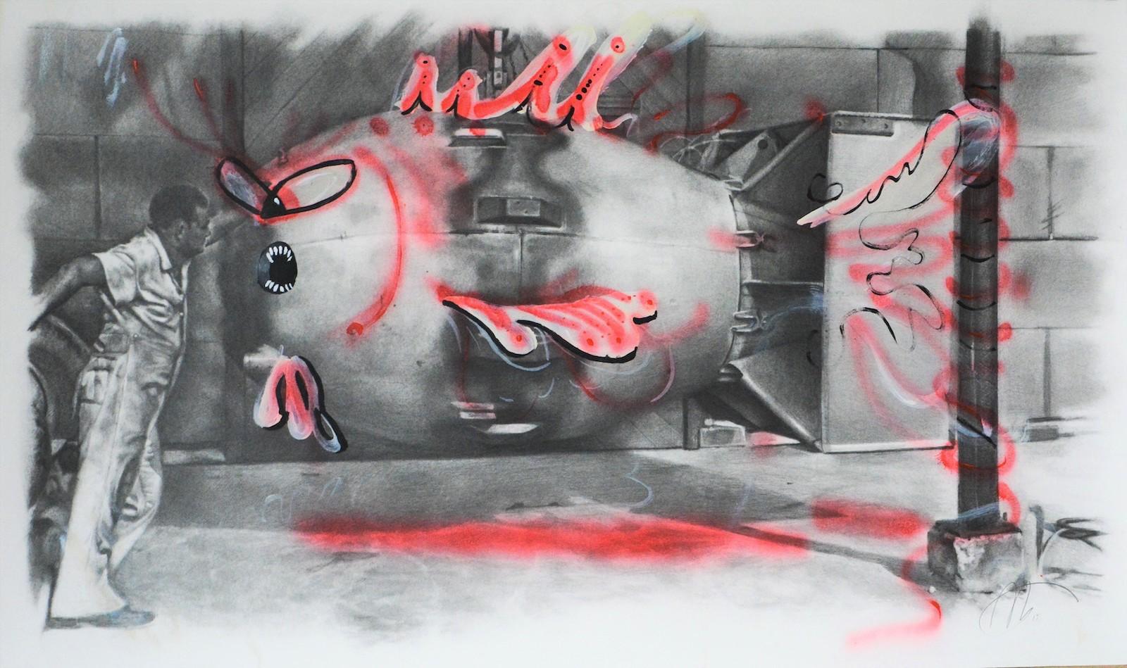 Paris Giachoustidis, Roter Fisch, 2019, 48x81cm, Bleistift und Sprühfarbe auf Papier