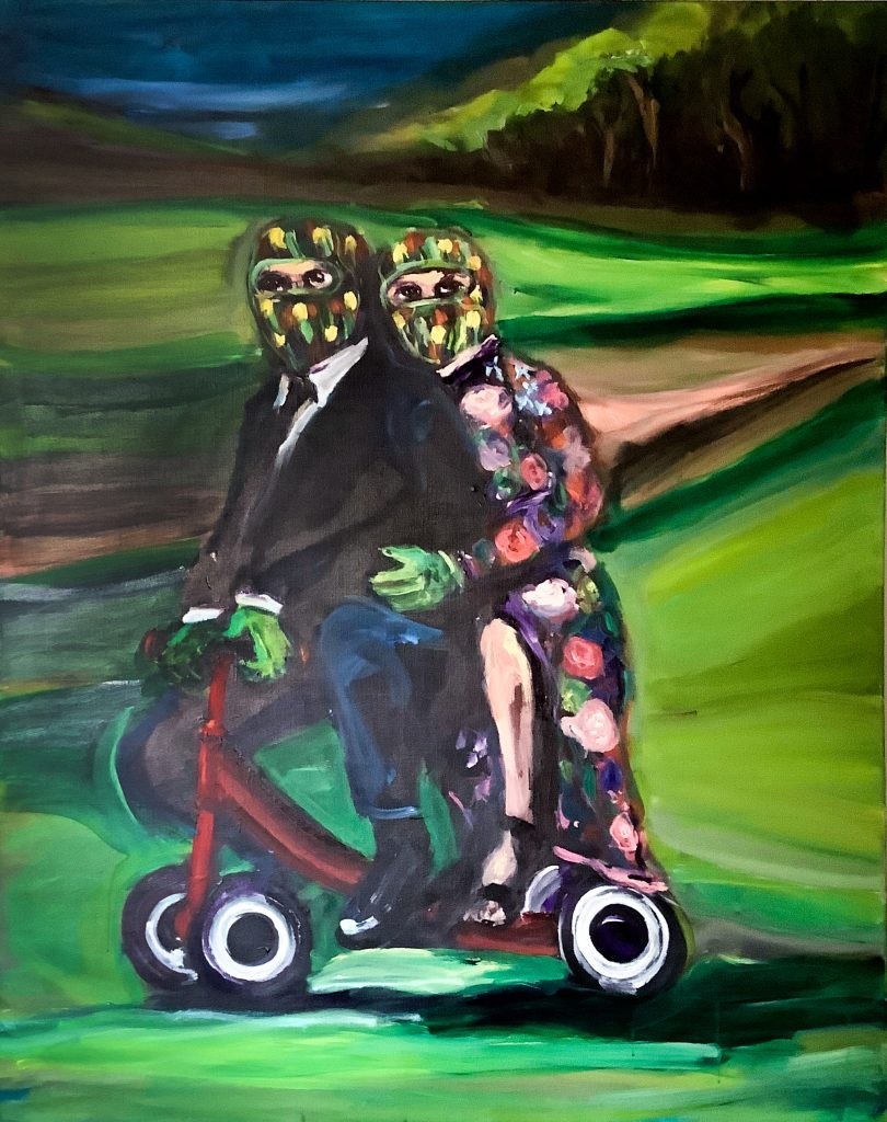 Yassine Balbzioui, Caravan on the green hill 2019, acrylic on canvas 145 x 115 cm