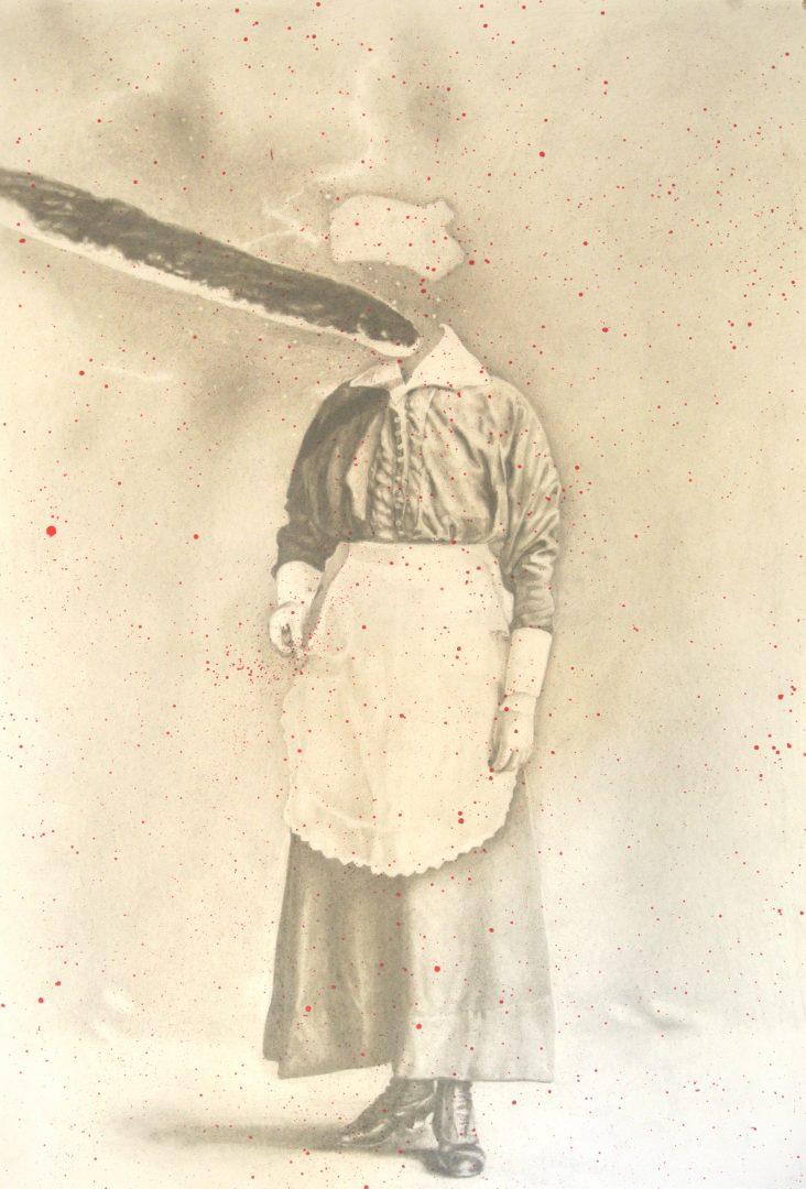 Paris Giachoustidis, Planet Baguette on her-head, 2018, pencil and acrylic on paper, 100x75cm