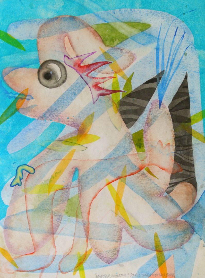 Paris Giachoustidis, Waterdog, 2018, watercolor on paper, 40x30cm