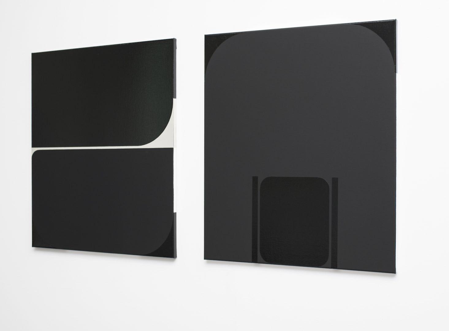 "Irina Ojovan, Sarmizegetusa N 50, 2018, oil and lacquer on canvas, 82x71 cm_Sarmizegetusa N 61"" 2019, oil and lacquer on canvas, 82x71 cm"