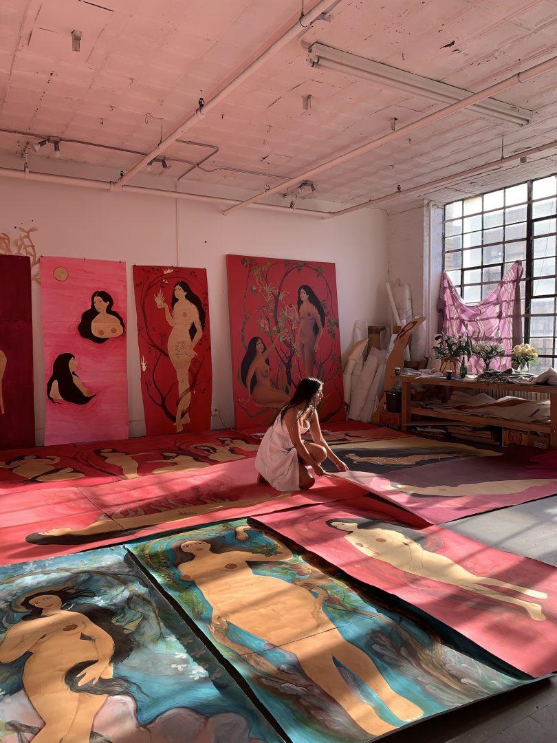 Hiba Schahbaz in her Brooklyn studio
