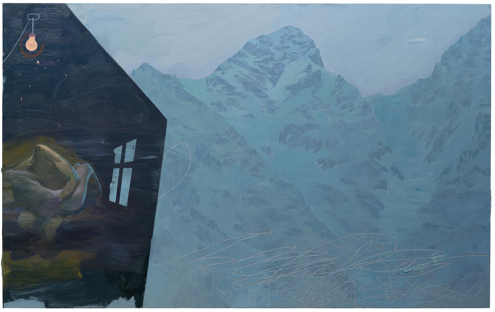 Ruprecht von Kaufmann, Die Alm, 2019, Ölbild Öl auf Linoleum auf Holz, 153 x 245 cm