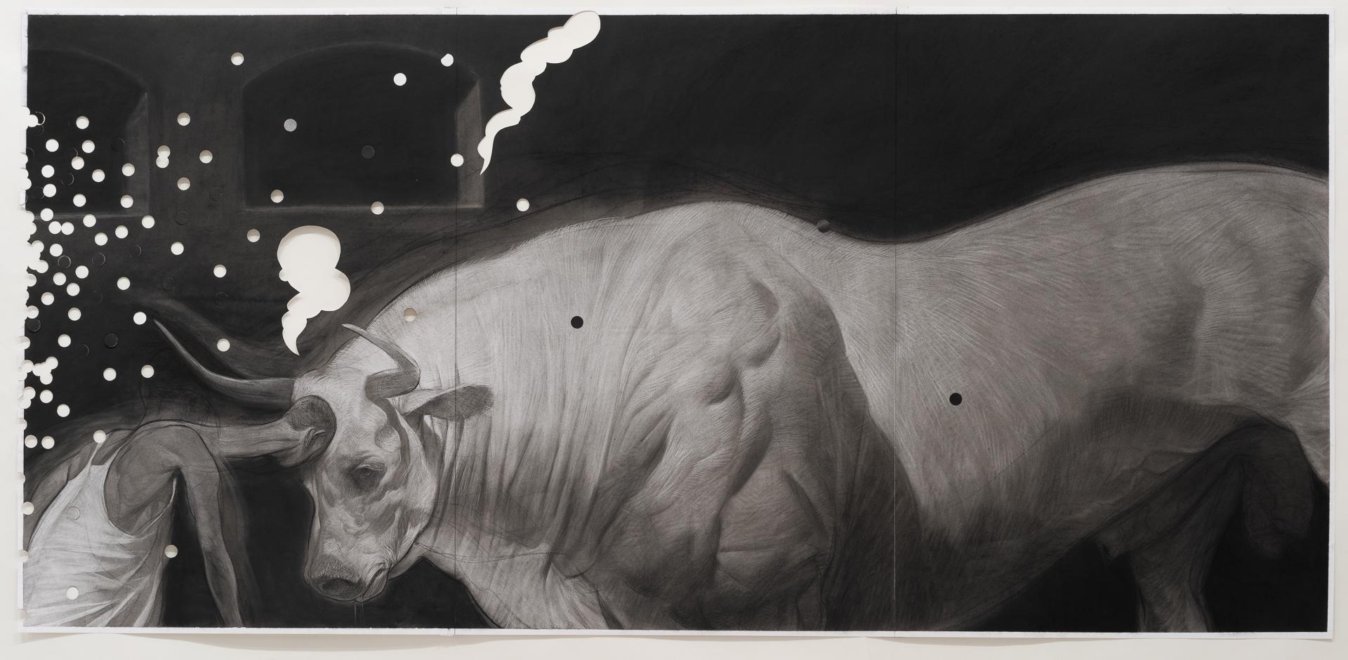 Ruprecht von Kaufmann, Der Stierkämpfer, 2019, Zeichnung, Kohle auf Papier, 210 x 100 cm