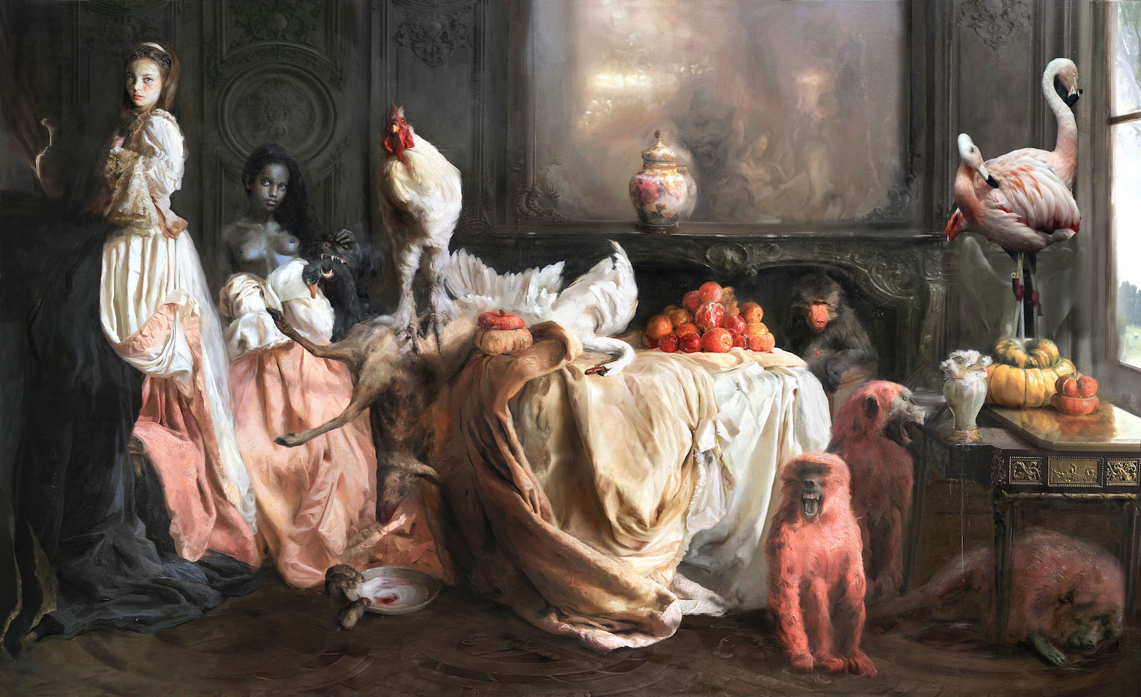 Guillermo Lorca, The Yaksha party, 2017, oil on canvas, 180 x 300 cm
