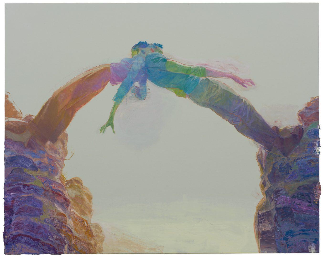 Ruprecht von Kaufmann, Regenbogen, 2019, Öl auf Linoleum auf Holz, 122,5 x 153 cm,  Courtesy Galerie Thomas Fuchs