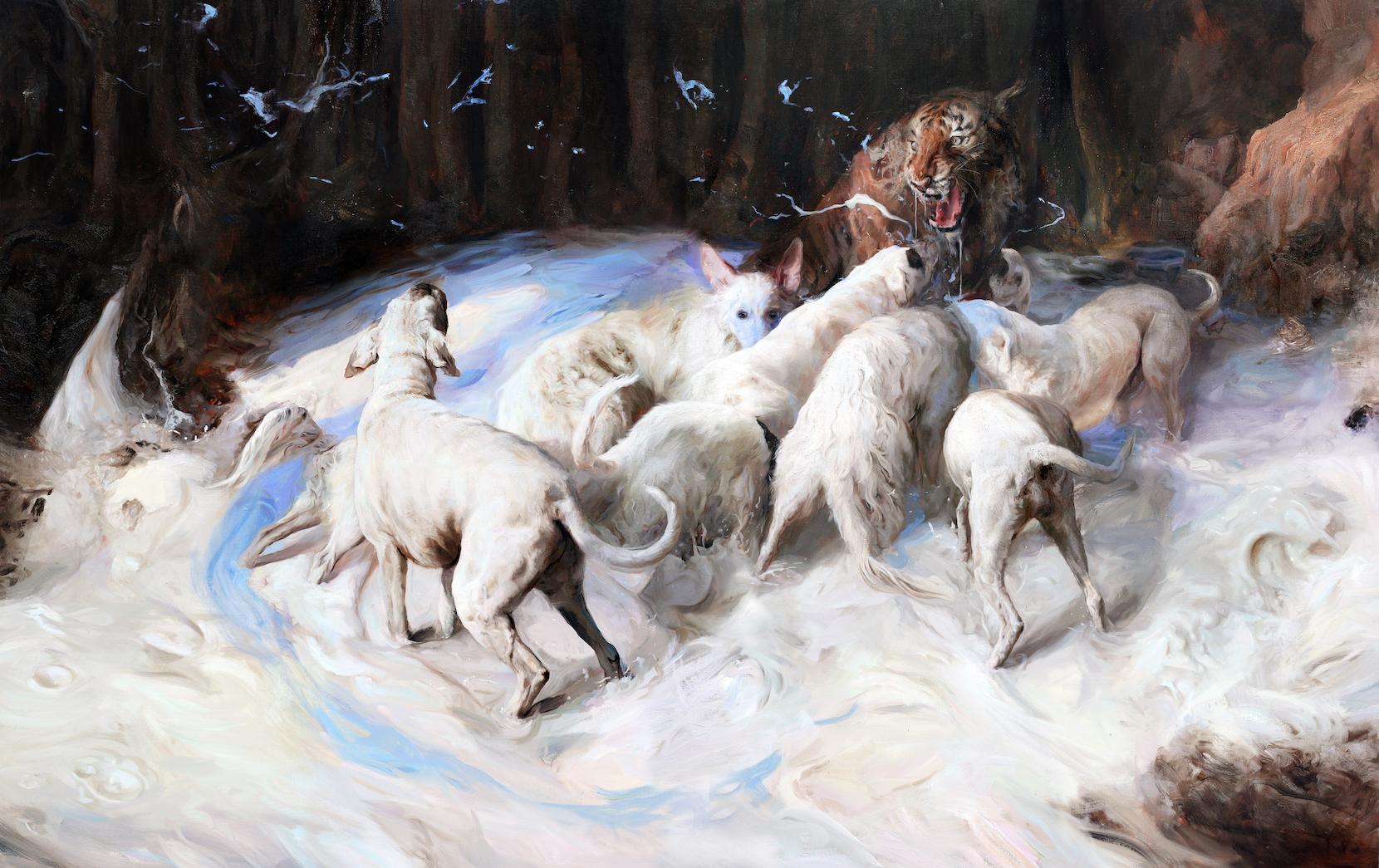 Guillermo Lorca, Make me blue, 2019, oil on canvas, 160x250cm
