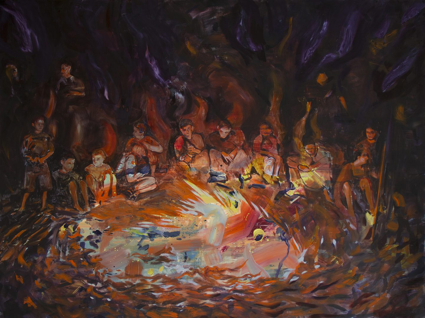 Lorella Paleni, Benandanti (Night Guests) Oil on canvas, 150x200cm