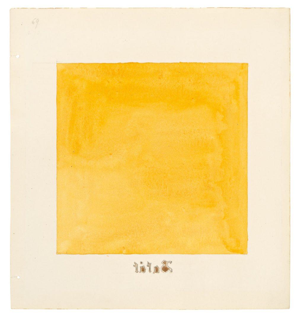 Hilma af Klint, Serie Parsifal, Grupp II, nr 69, 1916 Akvarell och blyerts på papper 26,8 × 24,8 cm HAK279