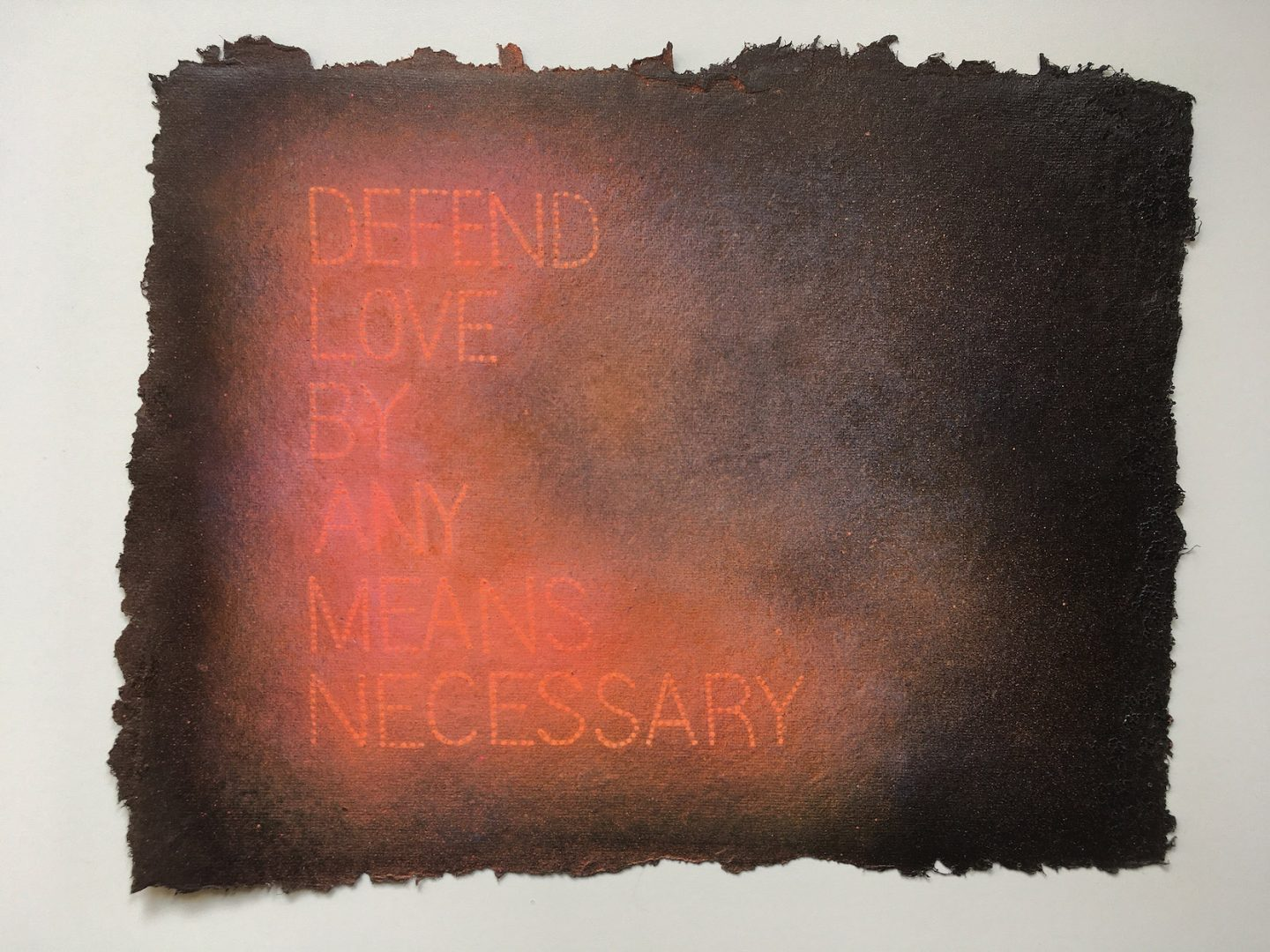 Renée Stout, The Mandate was Given 2020, Latex, acrylic and spay paint and glitter on handmade paper, 9 x 11 inches, Photo by the artist