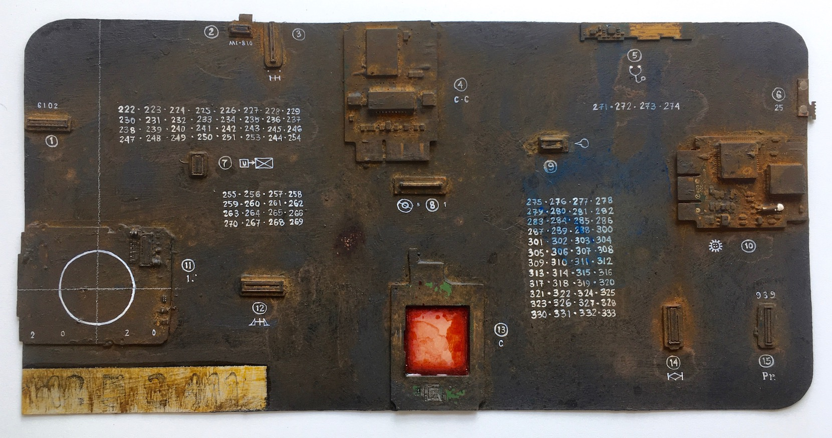 Renée Stout, Mnemonic Device (Memory Board), 2020, Acrylic paint, rust patination and found circuitry on paper, 6 ¼ x 12 inches, Photo by artist