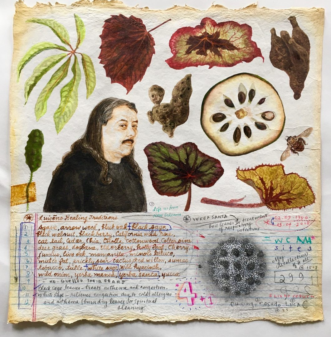 Renée Stout, Botanical Illustration #3 (the Herbmaster, James Luna), 2020, Oil and acrylic paint and mixed media on handmade paper, 12 x 11 ½ inches, Photo by the artist
