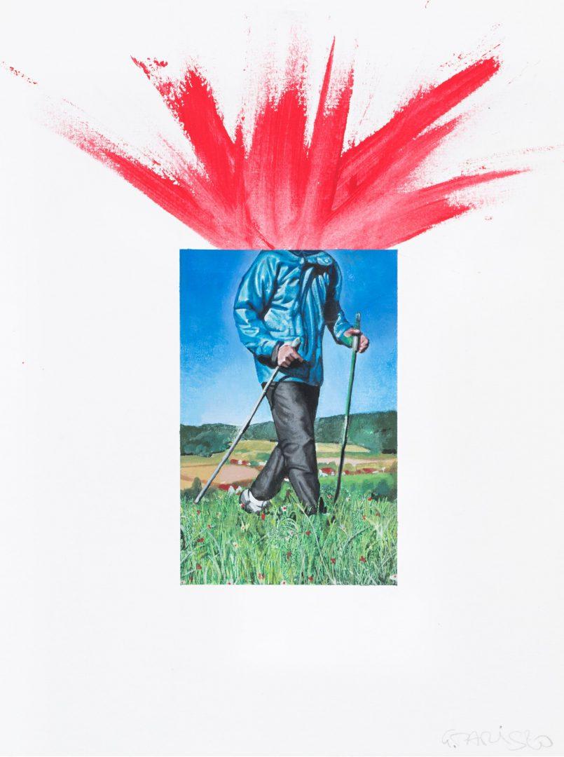 Paris Giachoustidis, ICH GEHE WANDERN OHNE KOPF, 2020 Acryl auf Papier | 48 x 36 cm