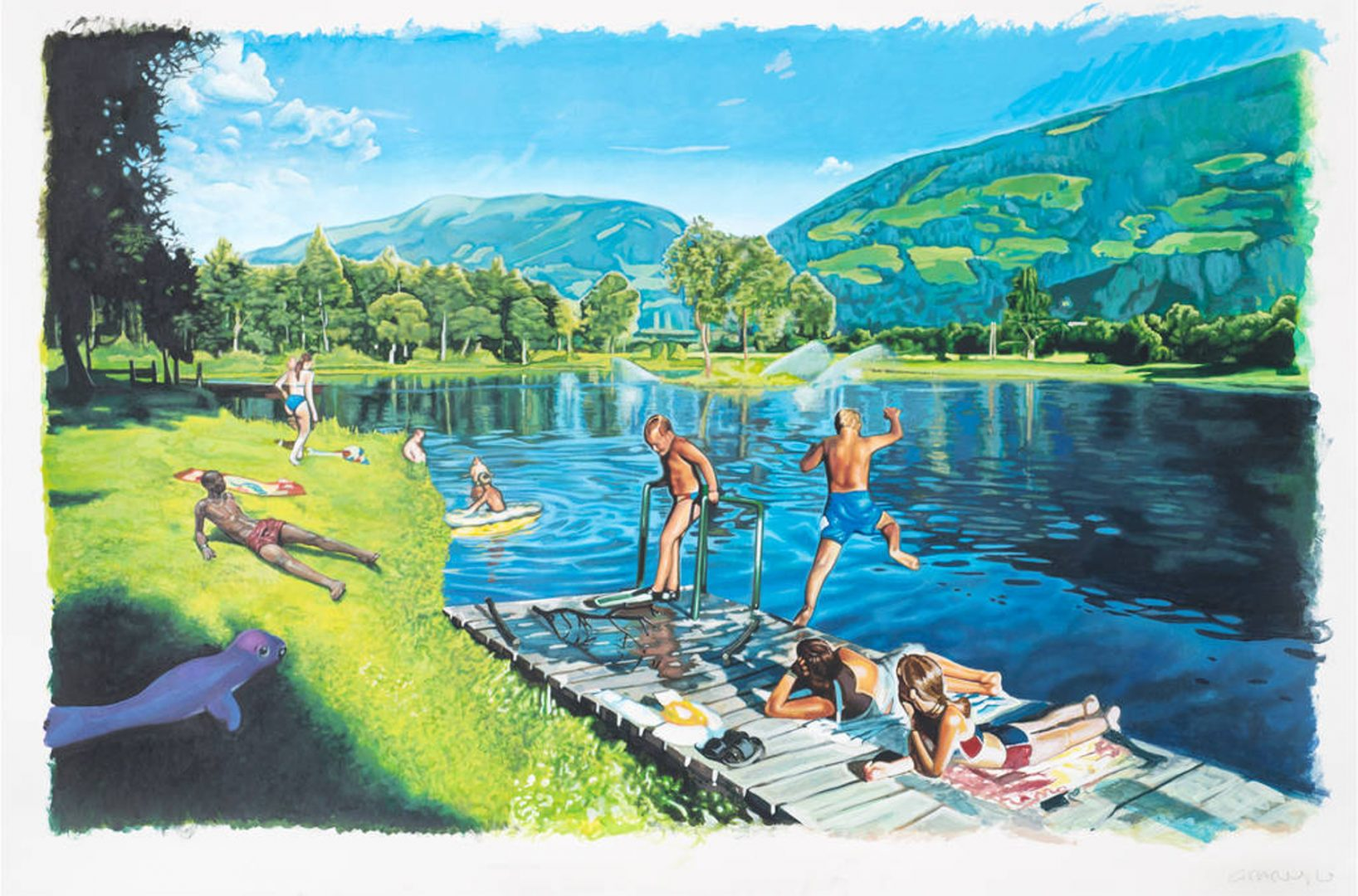 Paris Giachoustidis, OHNE HANDTUCH AM BERGSEE, 2020, Acrylfarbe auf Papier, 95 x 125 cm