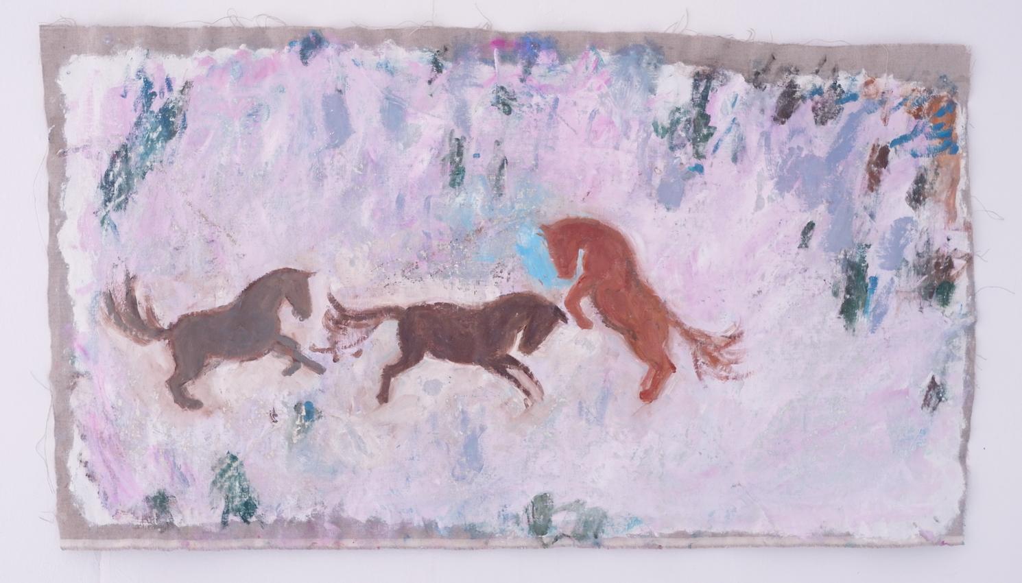 Franziska Güttler, Drei Pferde, Öl auf Leinen, 68x118 cm, 2021